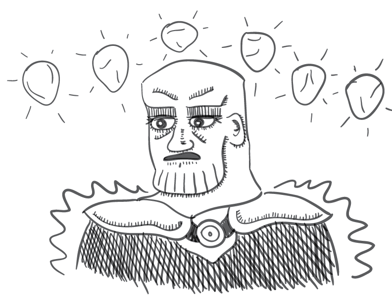 crude greyscale sketch of a confused-looking fellow, bearing a resemblance to Marvel Studio's IP Thanos, with glowing stones above his square head