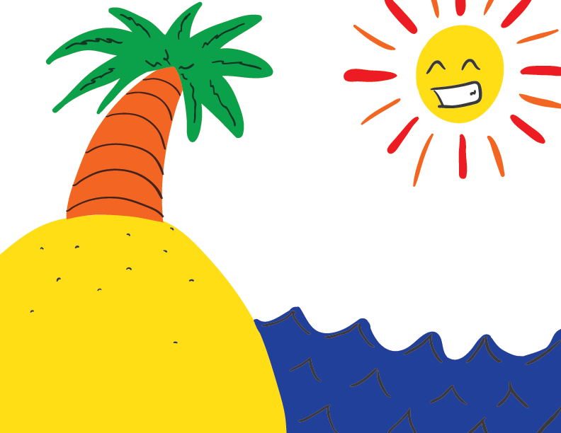 a colourful sketch of a deserted island featuring a lone palm tree, watched over by a jubilant sun