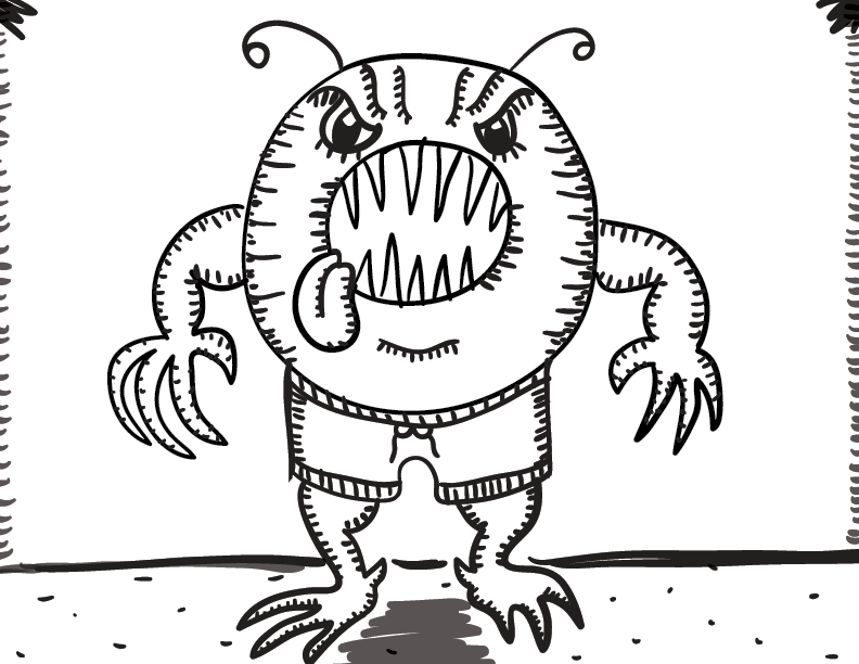 crude greyscale sketch of a doughnut monster with a lolling tongue and boxing trunks