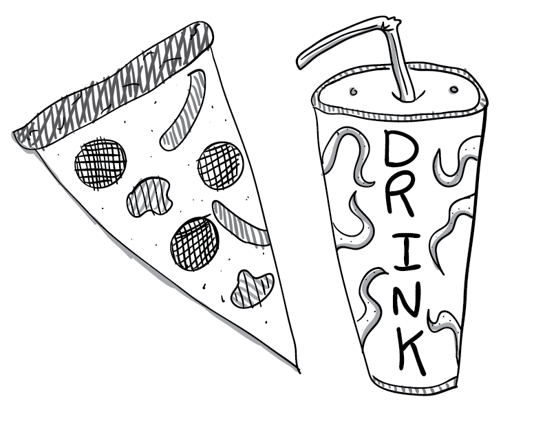 crude greyscale sketch of a pizza slice and a one-use drink container with Cthulhoid overtones