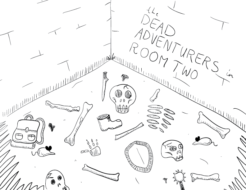 crude mono sketch of a forgotten dungeon corner, full of bones, ruined gear, and rats, labelled as such