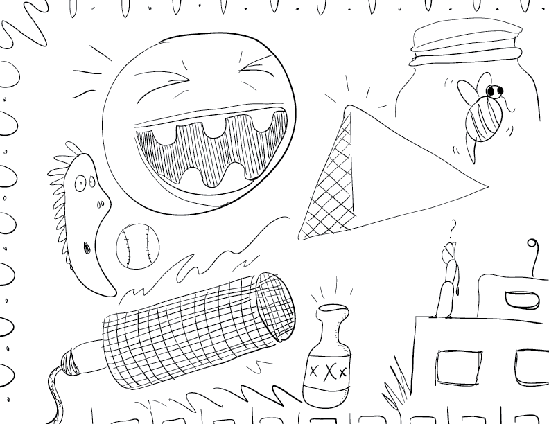 crude mono sketch of a variety of objects stripped of their context