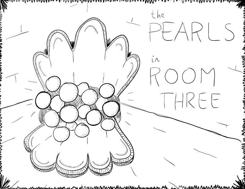 crude mono sketch of a clam overflowing with pearls, labelled as such