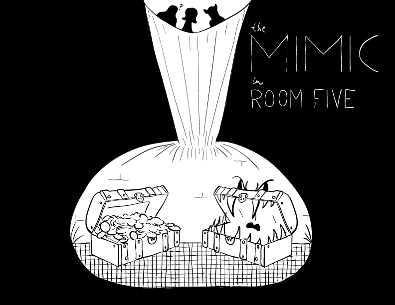 crude mono sketch and trace of a subterranean room featuring a chest full of coins, and an angry-eyed chest filled with teeth. it's labelled such, as three curious adventurers loom above