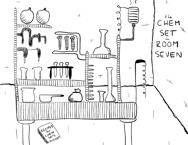 crude mono sketch of a rickety set of chemicals, with a recipe book below the apparatus; the room is labelled as such