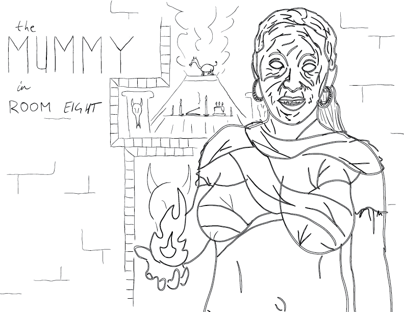 crude sketch & trace of a mummy with a fireball in her hand, in front of a draconic shrine, labelled as such
