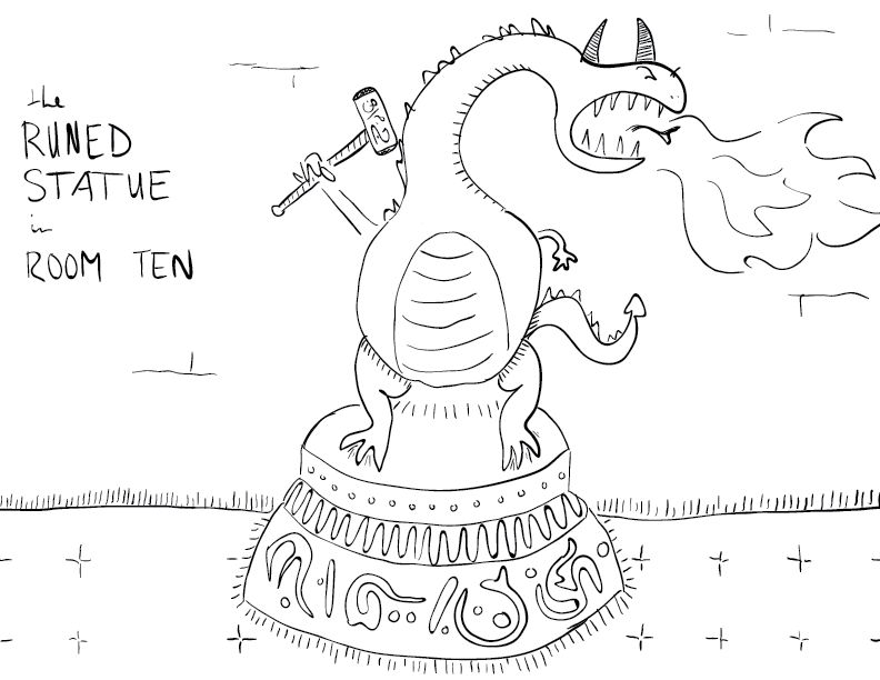 crude mono sketch of a pudgy dragon on an inscribed plinth, clutching a hammer and roaring fire, labelled as such