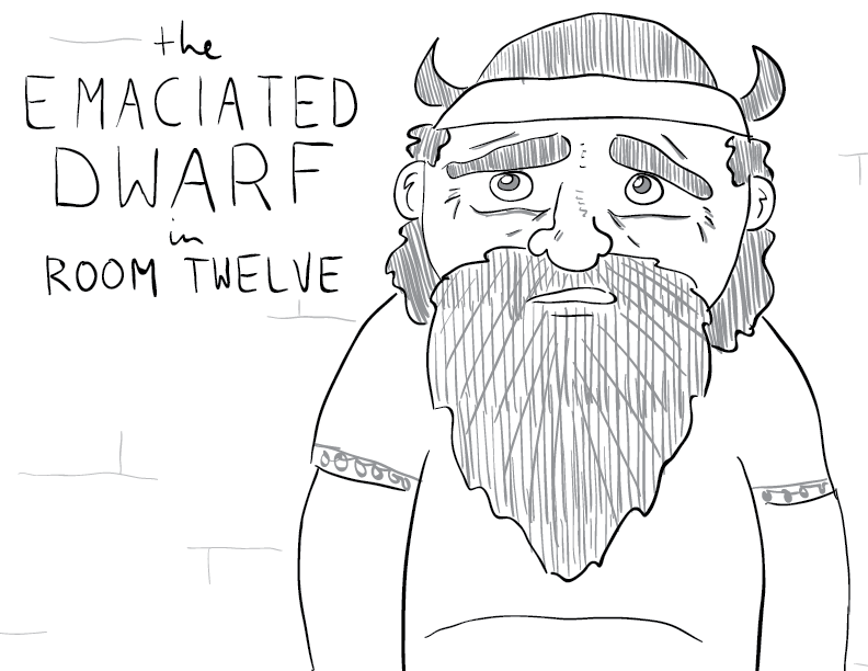 crude greyscale sketch of a worried-looking dwarf in a horned hat and a t-shirt, labelled as such