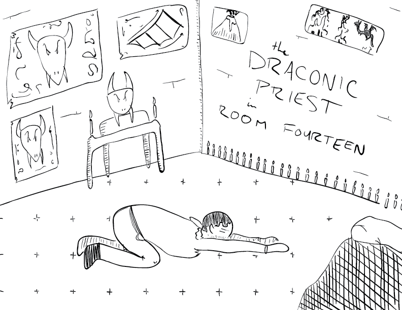 crude mono sketch of a fellow, prostrate, in a room full of dragon stuff, labelled as such