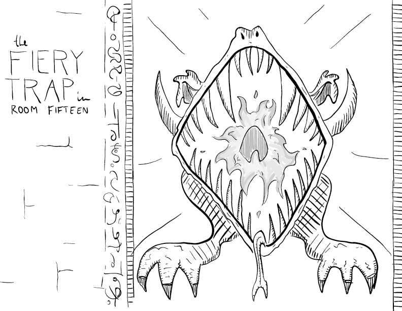 crude greyscale sketch of a sculpted, draconic statue, fang-filled mouth agape, breathing forth a gout of flame at the viewer, labelled as such