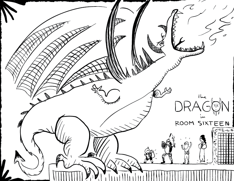 crude mono sketch of an enormous dragon breathing fire, towering over four alarmed figures below, labelled as such
