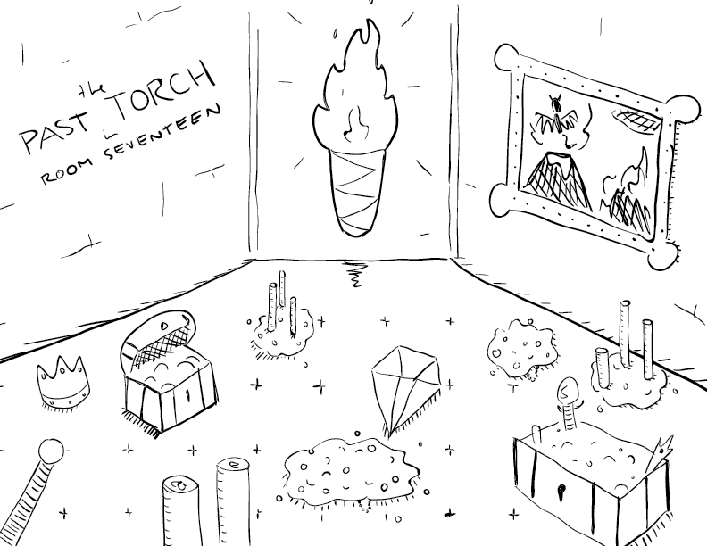 crude mono sketch of a room full of treasures, dominated by an enormous torch, labelled as such