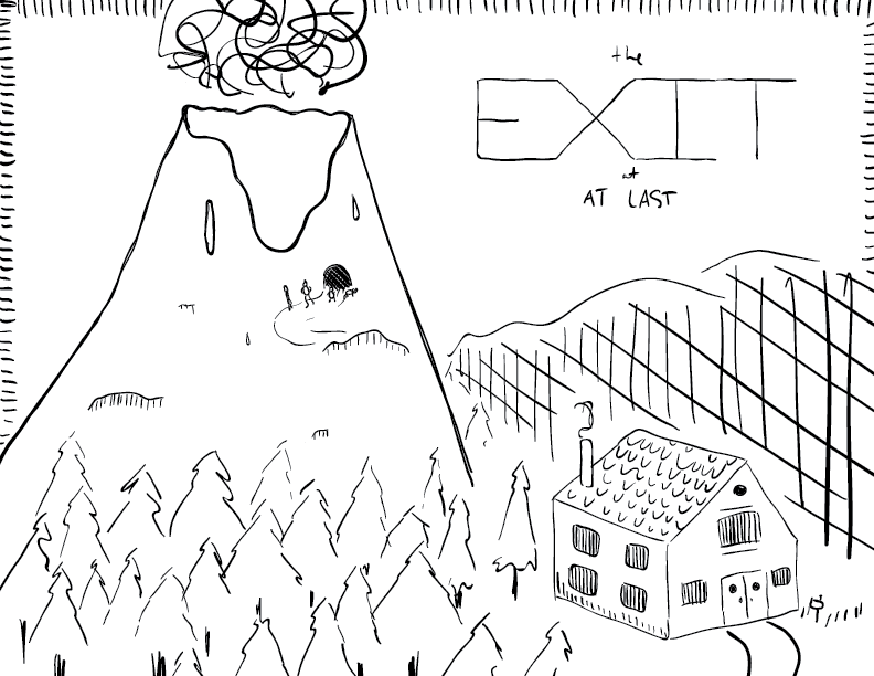 crude mono sketch of an active volcano above a quaint inn — four tiny figures emerge from a cave in the volcano — labelled as such