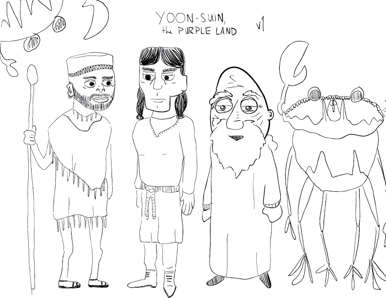 crude mono sketch of a few characters, including two crab people, two magicians, and a warrior