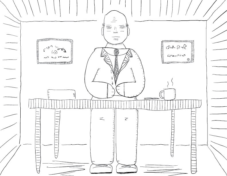 crude mono sketch of a suited fellow meditating in a mostly-empty office