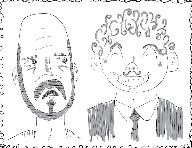 crude greyscale sketch of two fellows, one bearded and uncomfortable, the other curly-haired and cheery