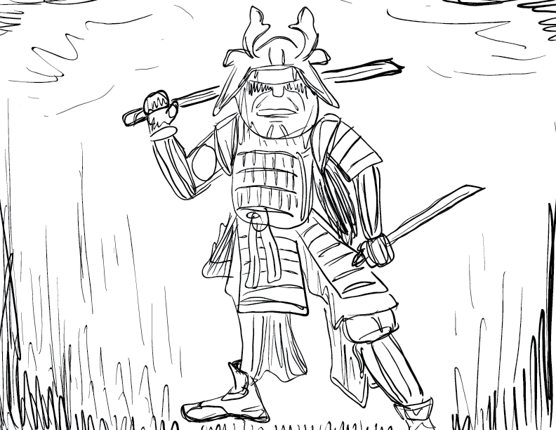 crude mono sketch of an armoured samurai in an aggressive pose