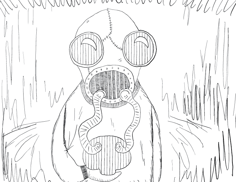 crude mono sketch of a figure in a gas mask holding an object of a rough mushroom shape