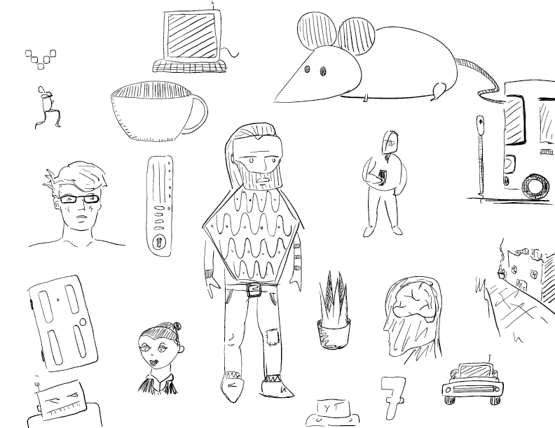 sketch: crude mono brain dump of objects and people and shapes
