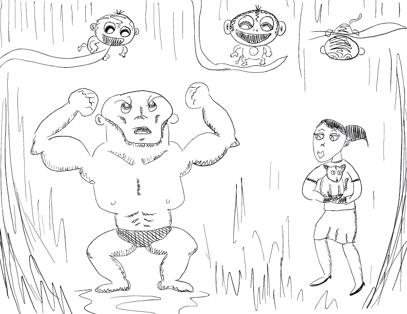 crude mono sketch of a couple of weirdos in the jungle, beset by grinning monkeys