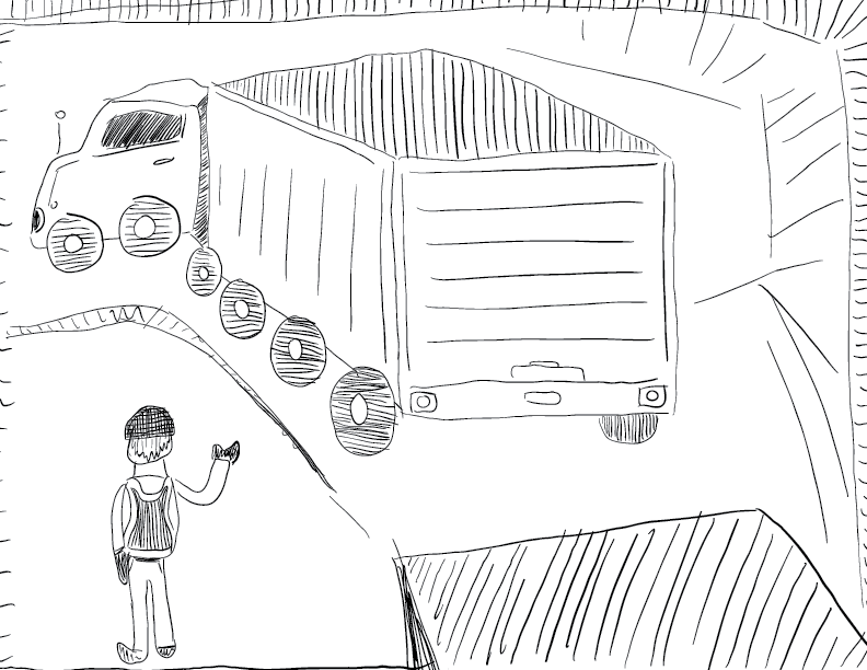 crude mono sketch of a signal person helping a large truck reverse to a loading dock