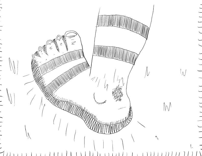 crude mono sketch of a foot in a sandal with a wound on the heel, stomping the ground