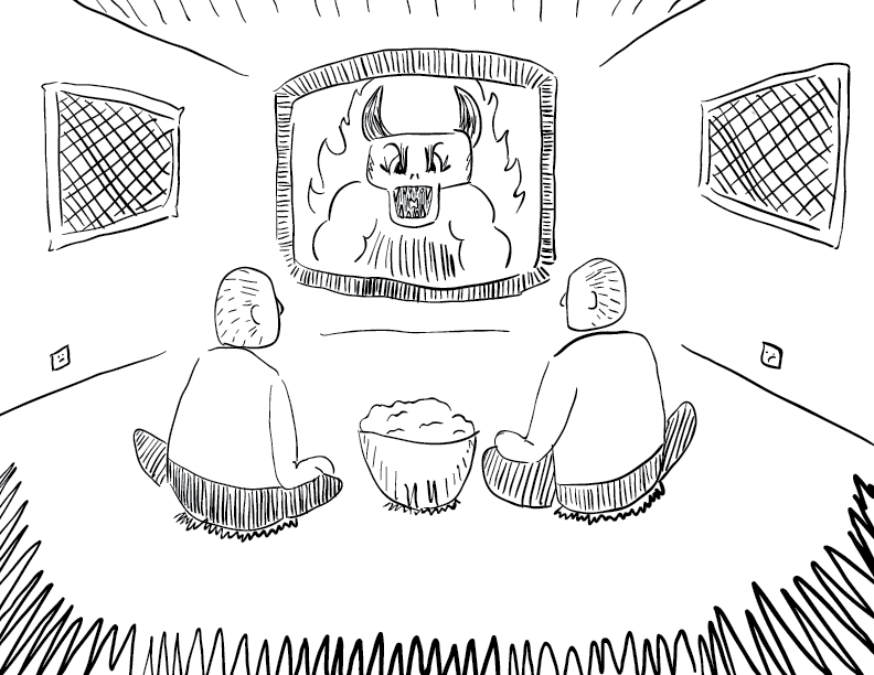 crude mono sketch of two figures with a full bowl of snacks watching a monster on TV