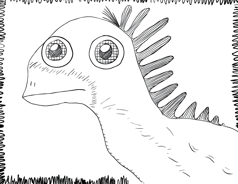 crude mono sketch of a bug-eyed chicken like creature