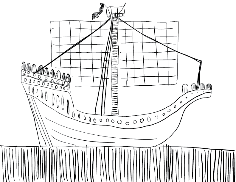 crude mono sketch of a medieval ship, with no crew about
