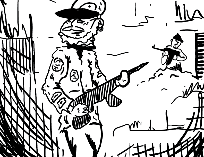 crude mono sketch of an apocalyptic scene, with a friendly man in the foreground, and one in the back, with a bead on him