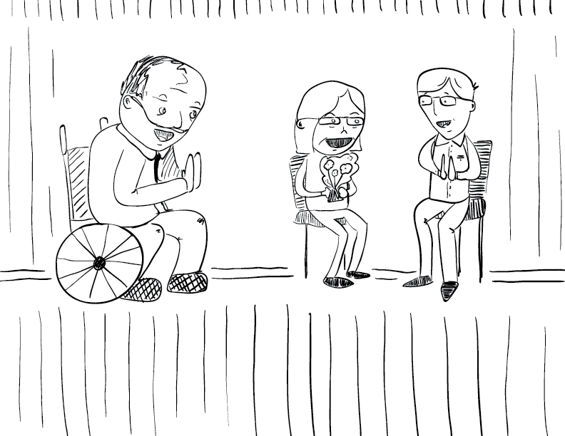 crude mono sketch of three people, one in a wheelchair, another holding flowers, sit and clap with smiles on their faces