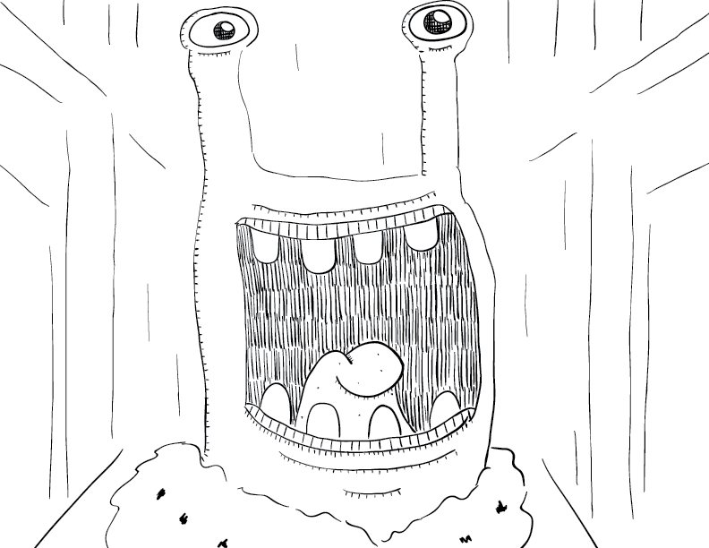 crude mono sketch of a noble slugfolk, stalk eyes bright, smiling widely
