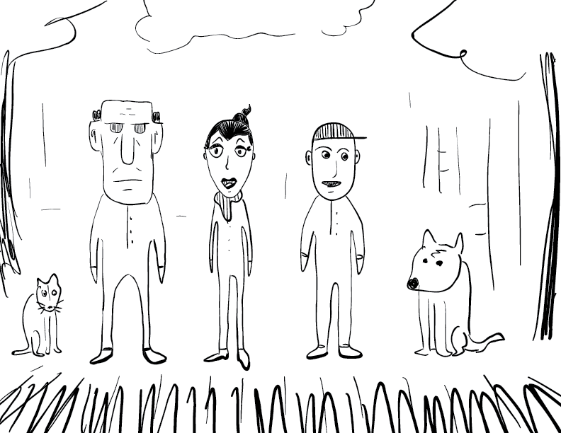 crude mono sketch of a family; mom, dad, son, dog, cat
