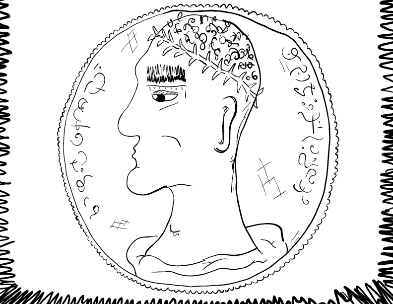 crude mono sketch of a Romanesque coin