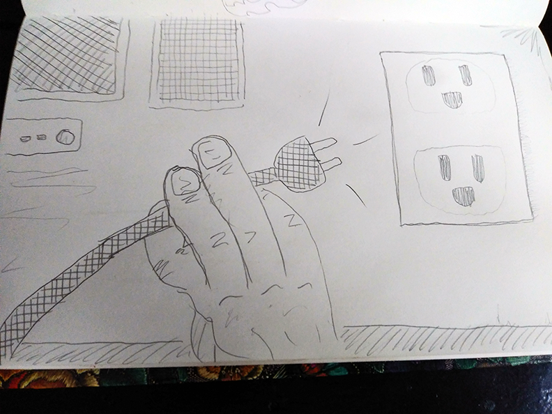 crude greyscale sketch of a mangled hand trying to make a plug reach an outlet
