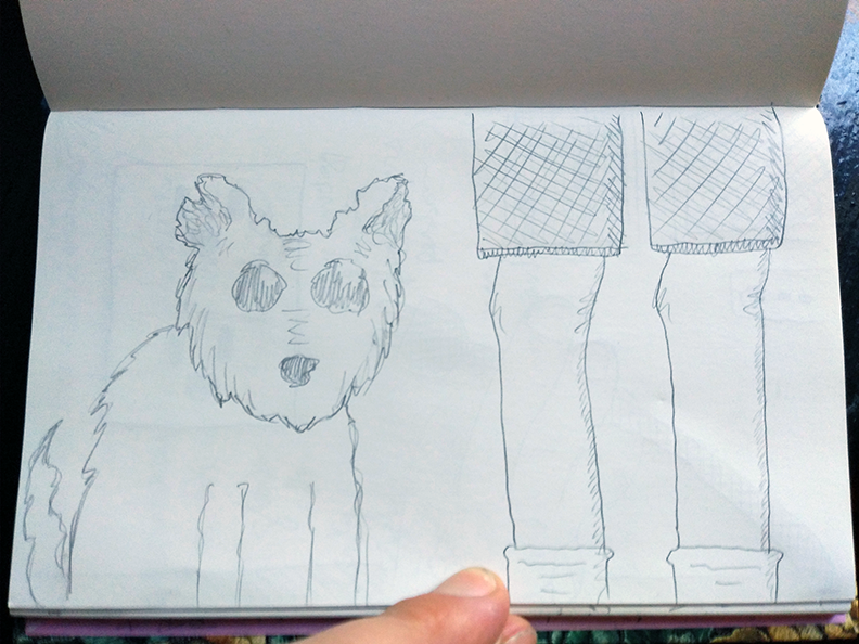 crude greyscale sketch of a furry mongrel and the legs of its master
