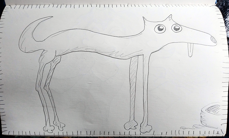 crude greyscale sketch of a tall dachshund with its tongue drooping out