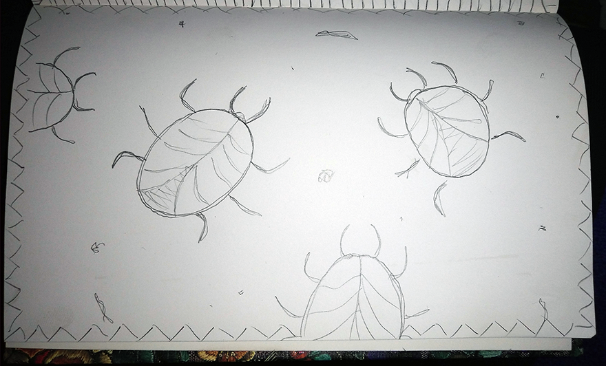crude greyscale sketch of several parasitic bugs crawling around