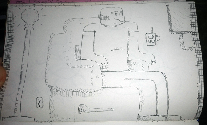 crude greyscale sketch of a chubby gentleman seated, watching a screen
