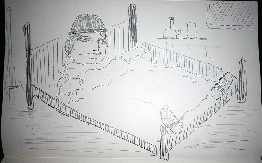 crude greyscale sketch of a sad looking fellow wearing a toque in bed