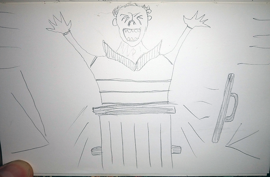 crude greyscale sketch showing a cheery fellow emerging with vigour from within a trash can