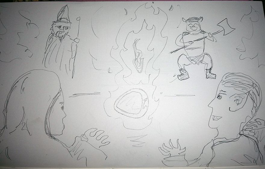 crude greyscale sketch of a band of weirdos doing magic over a burning bracelet