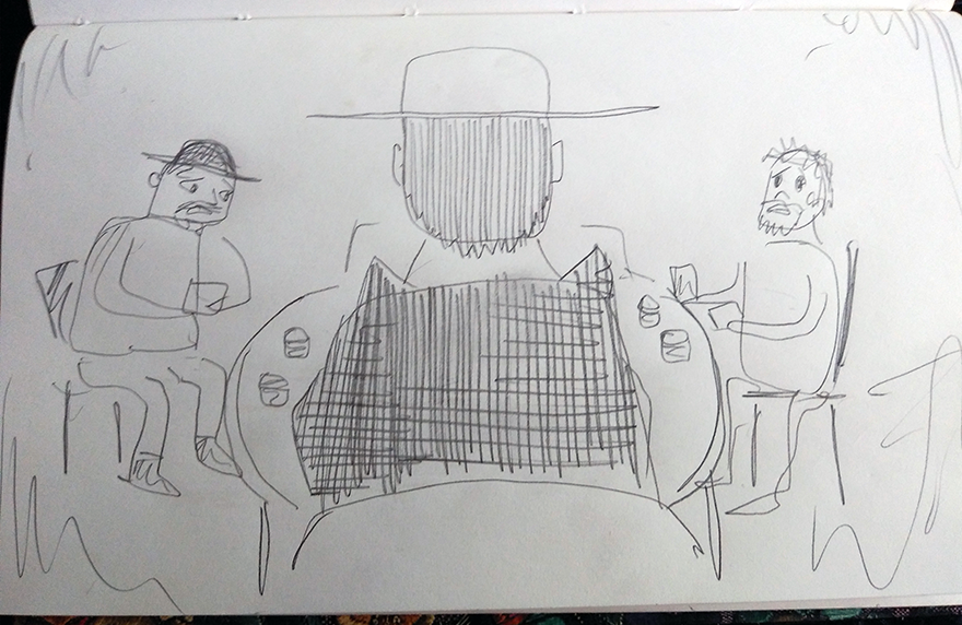 crude greyscale sketch of an imposing fellow playing poker, and the nervousness of his companions