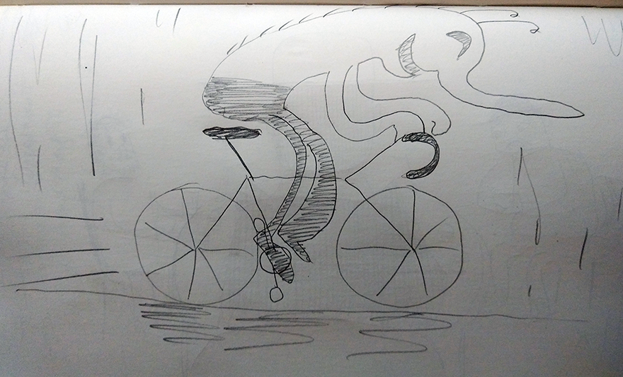 crude greysale sketch of a happy bug-like creature riding a road bicycle