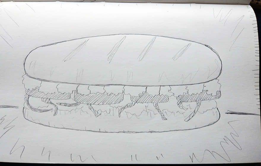 crude greyscale sketch of a submarine sandwich with lots of toppings