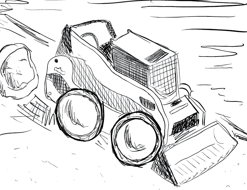 crude mono sketch of a construction vehicle parked outside