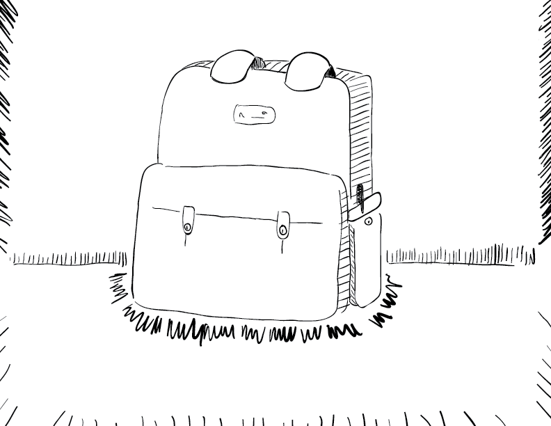 crude mono sketch of a simple, humble backpack, who wants no trouble from anybody