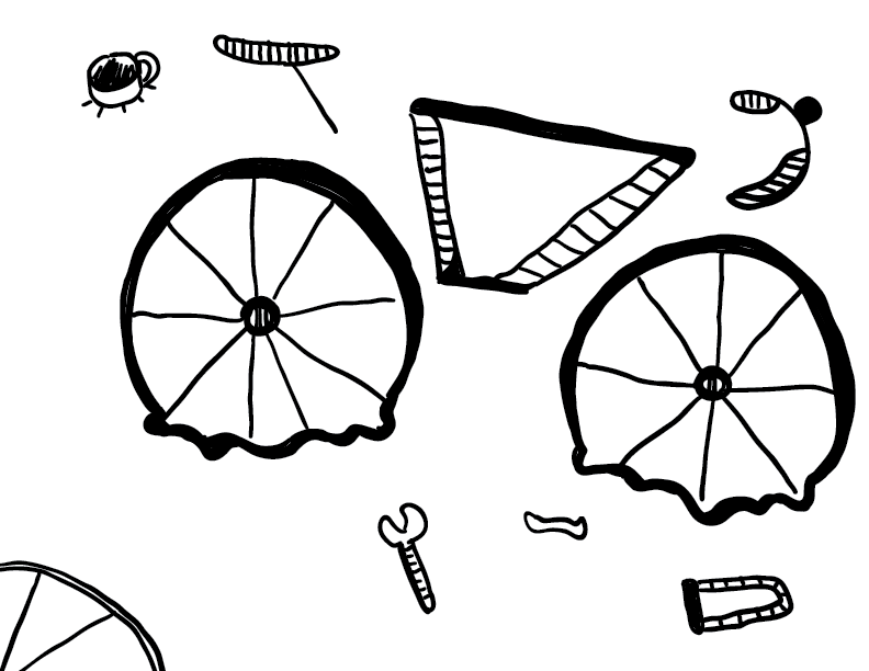 crude mono sketch of a broken bicycle with its attendant pieces and tools