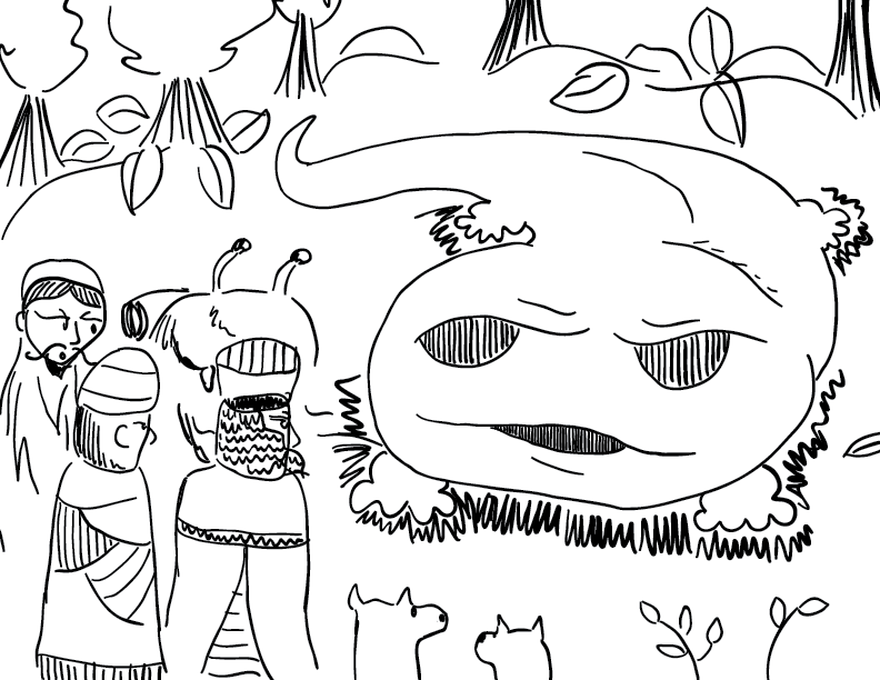 crude mono sketch of a giant salamander greeting a party of humans, dogs, and a crab