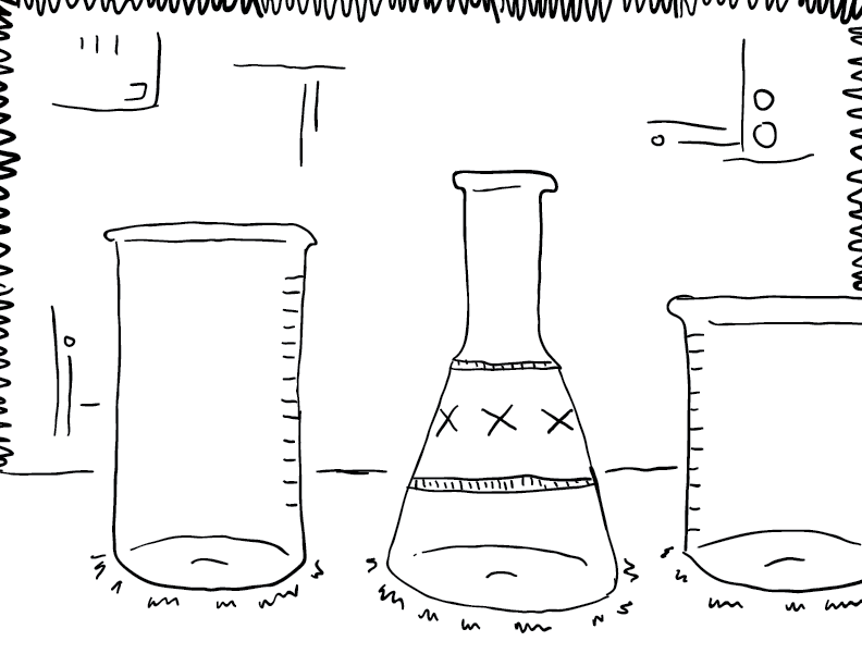 crude mono sketch of beakers and flasks